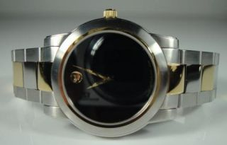 Mens Two Tone Movado Watch Museum Dial Classic Gold Stainless Black 81