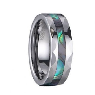 Envyj Tungsten Carbide Men Abalone Wedding Band Ring NV43A Size 9 10