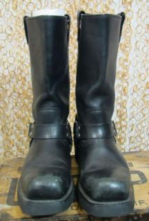 Harley Davidson Mens Black Leather Harness Motorcycle Boots Sz 8 5 41