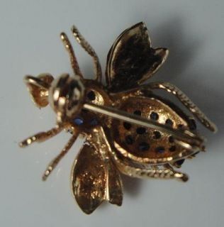 Vintage 14k Yellow Gold Blue Sapphire Bumble Bee Bug Insect Pin Brooch