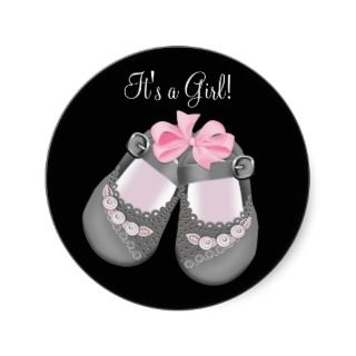 Gray Baby Shoes Pink Black Baby Shower Stickers