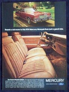 Vintage Magazine Print Ad 1974 Mercury Grand Marquis