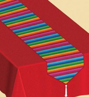 MEXICAN FIESTA STRIPED TABLE RUNNER PARTY TABLEWARE DECORATION 1 8M X