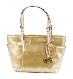 Michael Kors Jet Set Pale Gold Signature Patent Leather Shoulder Bag