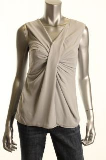 Michael Kors New Gray Gathered Chiffon V Neck Twisted Front Shirt