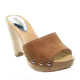 Michael Kors Easton Mule Slide Wedge Sandal Luggage Size 7 5 New