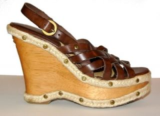 Gorgeous Michael Kors Leather Wood Wedge Strappy Sandal 6 5 Sandals