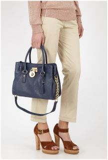 Michael Michael Kors Hamilton Navy East West Satchel Tote Shoulder Bag