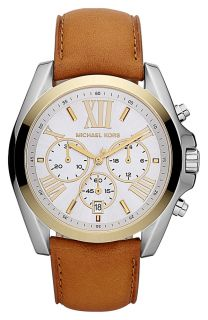 New Michael Kors Gold Tone Chronograph Leather Band Ladies Watch