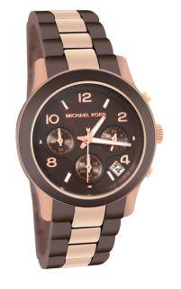 Michael Kors MK5658 Runway Chronograph Brown Dial Rose Gold Band Women