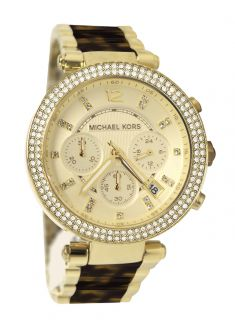 Michael Kors MK5688 Parker Chrono Gold Dial Steel Tortoise Band Women