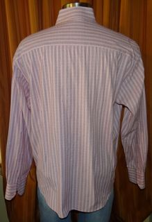 Michael Brandon Long Sleeve Pink Black Cotton Stripe Shirt Mens XXL 18