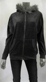 Michael Kors Womens Misses Faux Fur Zip Jacket Sz s Derby Gray Velvet