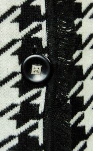 Sutton Studio Womens 100 Wool Houndstooth Jacket PL Black White Petite