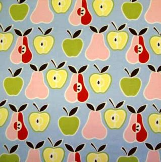 Alexander Henry Apples Pears Blue Lime Fabric Yd