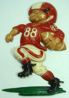 Homco 1976 Football Player Vintage Red Metal Wall Decor