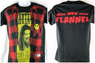 Mick Foley Real Men Wear Flannel WWE Authentic Black T Shirt New