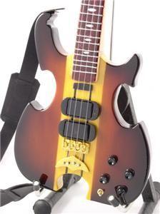 Miniature Bass Guitar John Paul Jones LED ZEPPELIN Alembic & Strap