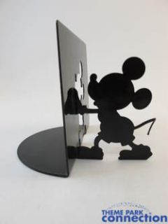 Disney Mickey Mouse Bookends Pair Metal Black Silhoutte Home Decor