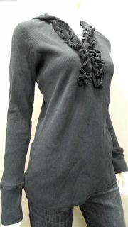 Casual Living Ladies Womens M Thermal Henley Top Navy Ruffle Long