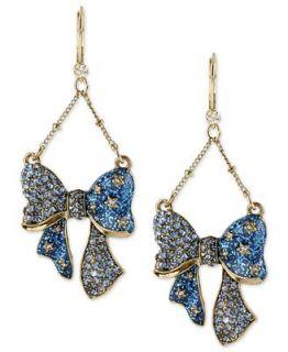 Betsey Johnson Earrings, Antique Gold Tone Glass Bow Chandelier