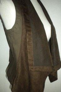 Calvin Klein MS Sz Slate Brown Faux Suede Open Front Shawl Collar Vest