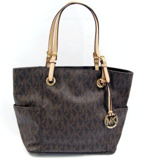 Michael Kors Jet Set Brown Signature Tote MK Logo PVC Shoulder Bag