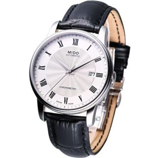 Mido Baroncelli Automatic Cosc Leather Strap Watch White