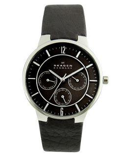 Skagen Denmark Watch, Mens Black Leather Strap 331XLSLB   All Watches