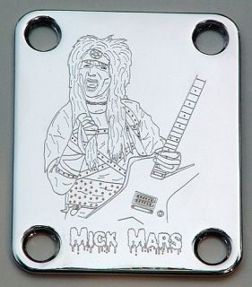Neck Plate Custom Engraved Etched Mick Mars Motley Crue Chrome
