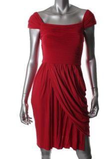 BCBG Max Azria New Mikaela Red Matte Jersey Cap Sleeve Cocktail
