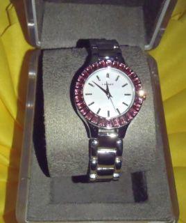 DKNY Womens Watch Silver Pink Crystal Bezel MOP Dial