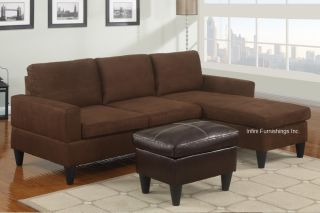 Microfiber Sectional Sofa and Ottoman Set F7281 Couch Furniture