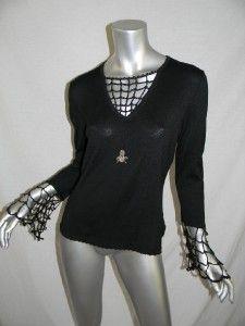 Michael Simon Event Silk Blend Black Spider Web Knit Top Sz M