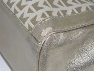 Michael Kors Metallic Gold Monogram Leather Canvas XL Satchel Handbag
