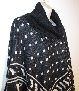 New Boston Proper Size M L Snowflake Poncho Cowl Neck