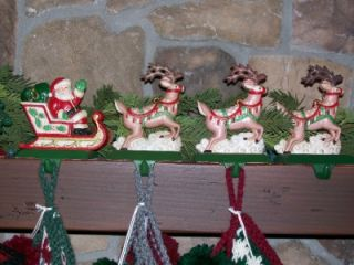 Midwest Santa in Sleigh Painted Cast Iron Christmas Stocking Holder