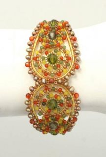 Miguel Ases Orange Green Beaded Cuff Bracelet