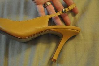 Michael Shannon Cosette Sz 5 5 M Tan Leather Sligback Heels Pointed