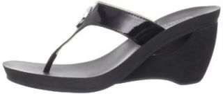 Michael Kors Warren Sandal Womens Blk Wedge Thong Flip Flop Heel Mult