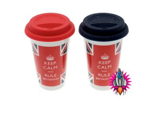 CALM AND RULE BRITANNIA UNION JACK DOUBLE WALLED TRAVEL COFFEE MUG CUP
