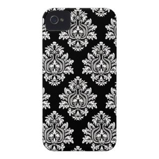 Black Damask pattern Apple Iphone case iPhone 4 Case