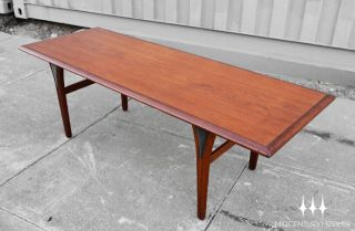 Danish Modern Mid Century Teak Surfboard Coffee Table with Black Leg