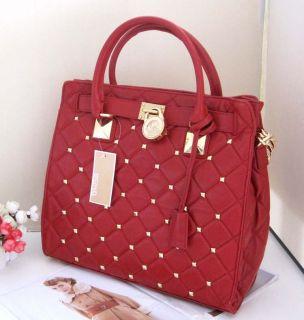 Michael Kors Hamilton Stud Quilt Large Tote Handbag Satchel Red