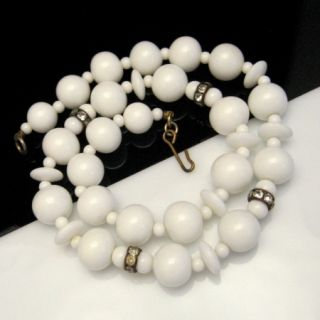 Necklace Large Chunky White Milk Glass Beads Rhinestone Statement