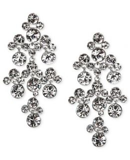 Givenchy Earrings, Silver Tone Crystal Chandelier Earrings