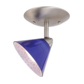 NEW 1 Light Ceiling Spot Lighting Fixture, Brushed Nickel, Blue Glass