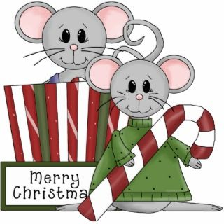 Merry Christmas Mouse Mice Present Gift Ornament Photo Cutout