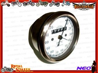 Royal Enfield Smiths Replica White Face 0 120 MPH Speedometer Enfield