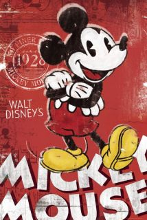 Mickey Mouse Red Vintage Disney Cartoon Poster